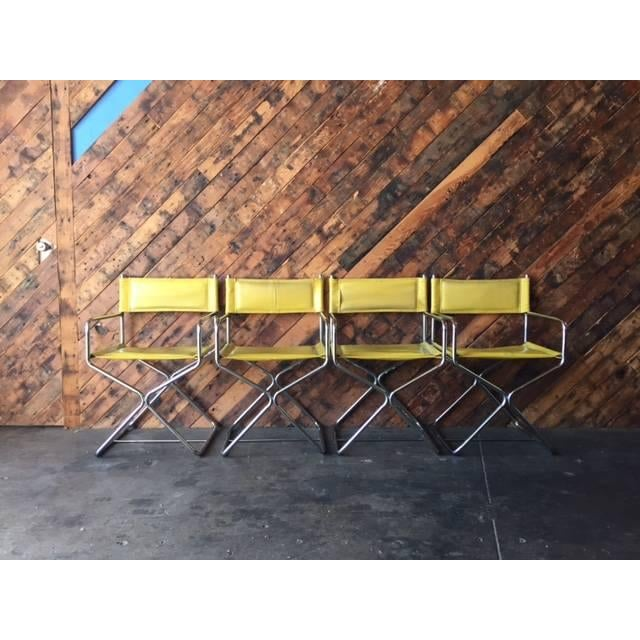 Image of 1970's Chrome Yellow Vinyl Directors Chairs - 4