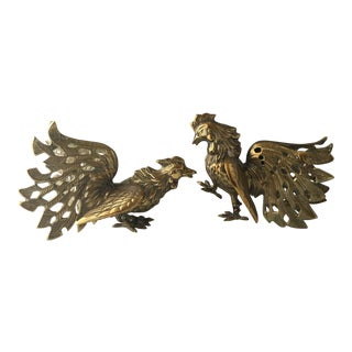 Brass Rooster Figures - a Pair