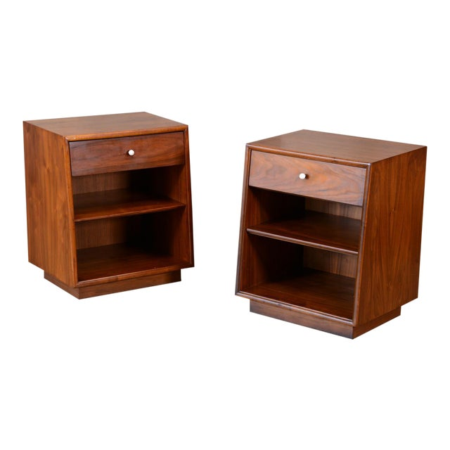 Drexel Declaration Walnut Nightstands- A Pair - Image 1 of 7