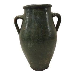 Antique Green Terracotta Olive Jar