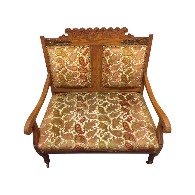 Antique Carved Wood Settee - Image 1 of 8
