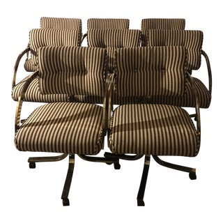 Milo Baughman Style Brass Desk Swivel Chairs - Set of 8