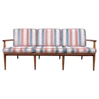 Mid-Century Modern Red and Blue Sofa