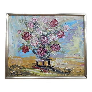 Painting of Red and Pink Roses by Morris Katz