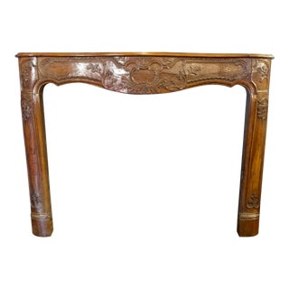 19th Century Hand Carved Walnut Fire Mantel