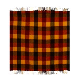 Vintage Faribo Yellow, Orange & Brown Plaid Wool Blanket