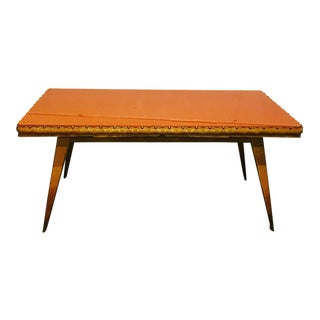Italian Carved Dining Table w/ Orange Glass