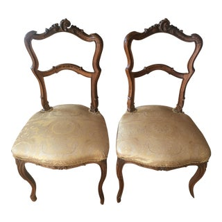 Antique French Silk Upholstered Chairs - A Pair