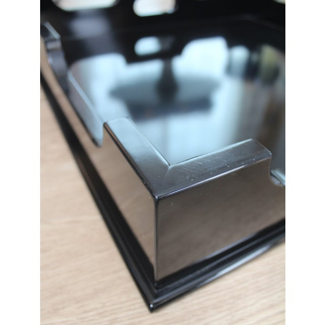 """Oomph """"Edgartown"""" Square Black Lacquer Tray - Image 4 of 8"""