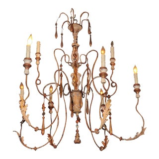 18th Century Italian 8 Candles Spider Chandelier with Carved Parts