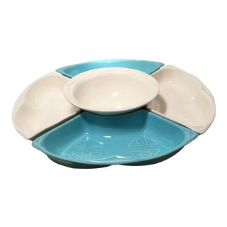 Turquoise and Cream Color Ceramic Lazy Susan