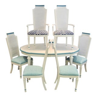Dining Table & Caned Chairs - Set of 7