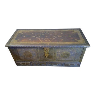 Antique Wood & Brass Zanzibar Trunk