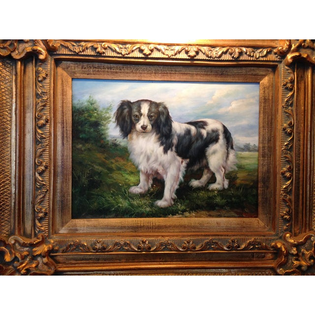 Oil Portrait King Charles Spaniel With Gold Frame - Image 4 of 5