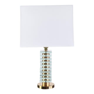 Rare Brass and Crystal Table Lamp by Carl Fagerlund for Orrefors