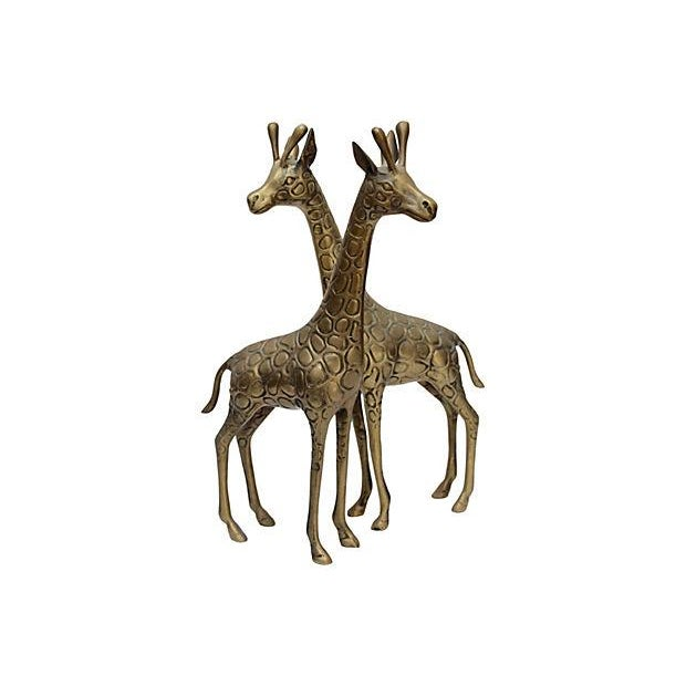 Standing Matched Brass Giraffes - Pair - Image 2 of 6