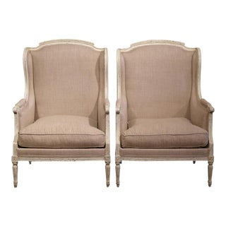 19th Century French Louis XVI Carved & Painted Armchairs - A Pair