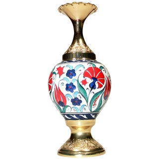 Gold Plated & Ceramic Turkish Vase
