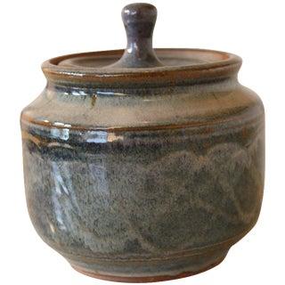 Mid-Century Blue Glazed Studio Pottery Lidded Pot