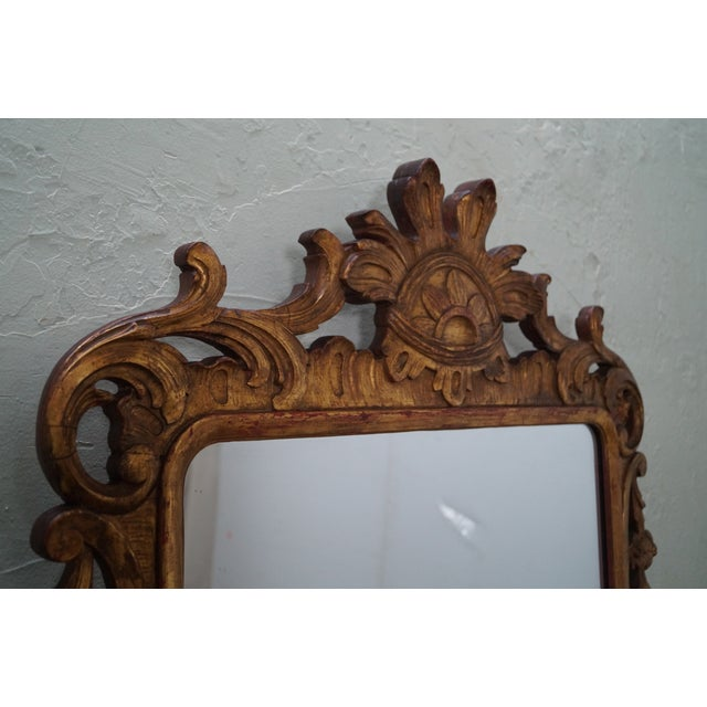 French Louis XV Gold Gilt Carved Wood Frame Mirror - Image 6 of 10