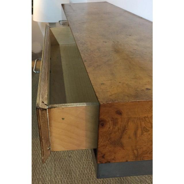 Mid-Century Burlwood Floating Console Table, Desk - Image 9 of 10