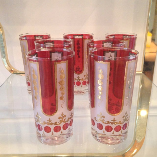 Image of Red and Gold Mid Century Highball Glasses - 7