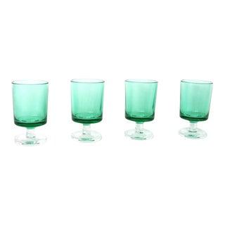 Vintage Luminarc Cavalier Green Cordial Glasses - Set of 4