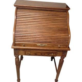 Eagle Craft Oak Roll Top Secretary Desk