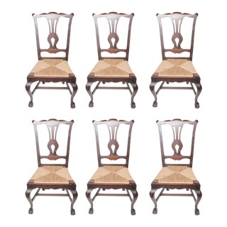 Walnut Dining Chairs With Rush Seats - Set of 6