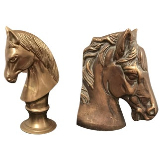 Mismatched Brass Horse Bookends - A Pair