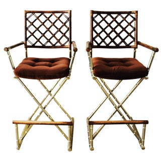 Vintage Brass Bamboo Director's Chair Barstools