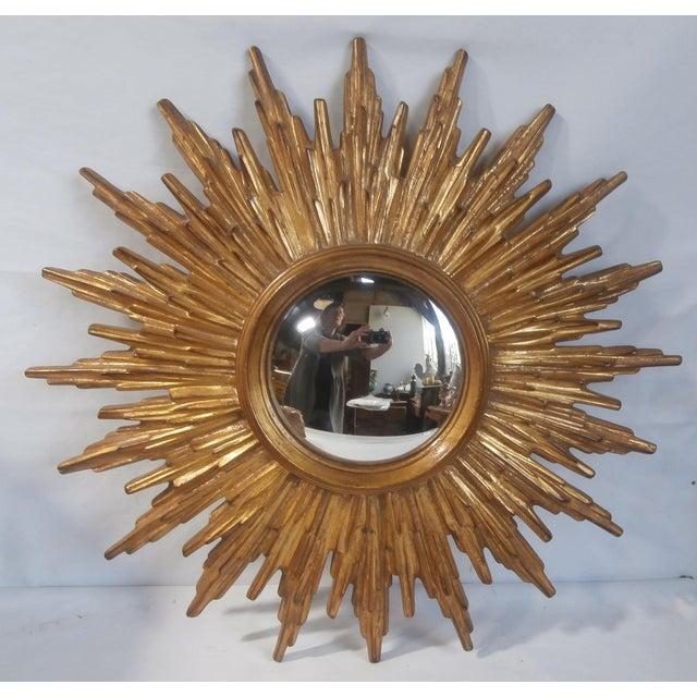 Image of French Sunburst Gilded Wood Mirror