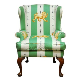 Lions of England Green and White Stripe Wingback Chair