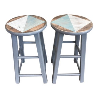 Geometric Stools/ End Tables -- A Pair