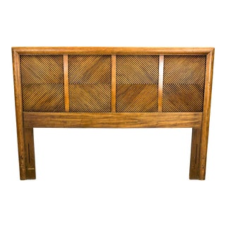 Mid-Century Vintage Walnut Reeded Headboard