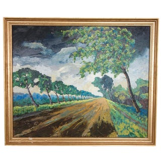 Framed Countryside Landscape Oil on Canvas, 1964