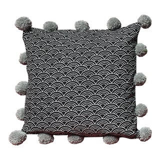 Black Waves Batik Pillowcase with Slate Pom-poms