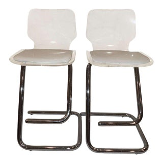 Luigi Bardini of Miniform Lucite and Chrome Stools - A Pair