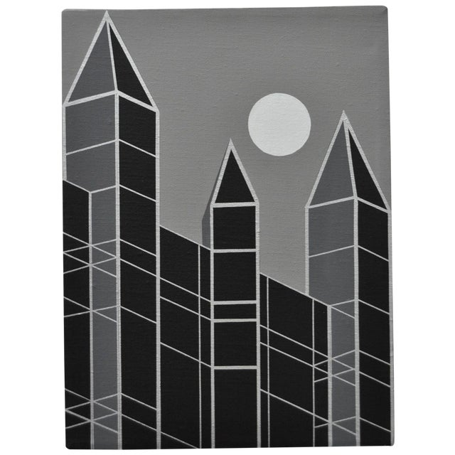 1989 Charles Hersey Vintage Op Art Cityscape - Image 1 of 3