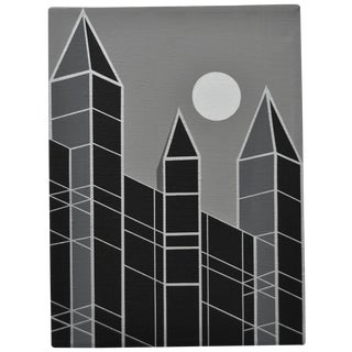 1989 Charles Hersey Vintage Op Art Cityscape