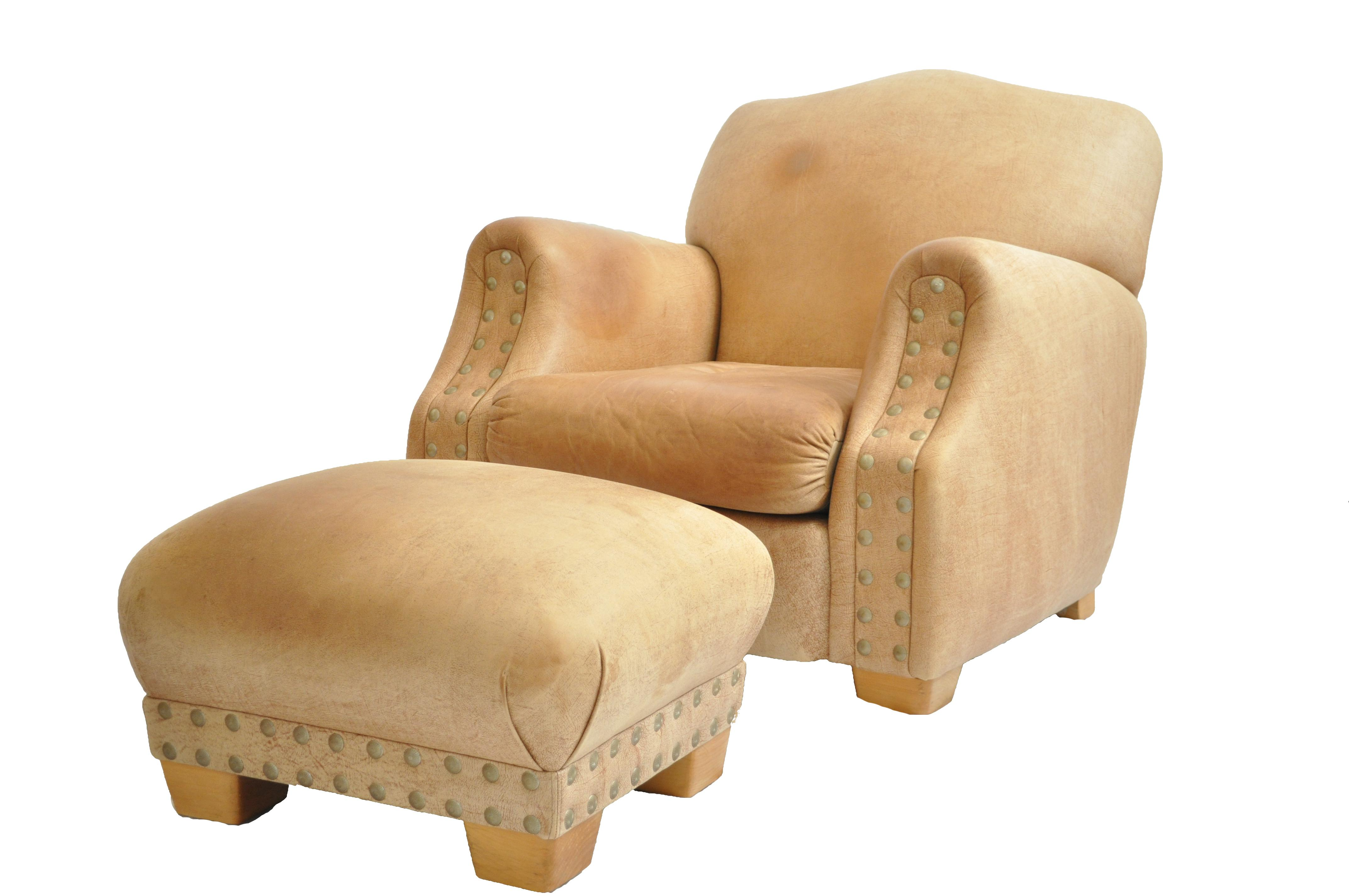 distressed leather chair u0026 ottoman with brass studs