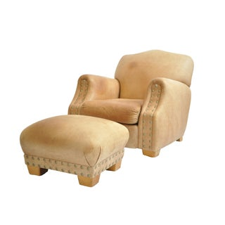 Distressed Leather Chair & Ottoman With Brass Studs