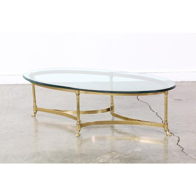 Vintage Brass and Steel Hoofed Foot Coffee Table - Image 2 of 6