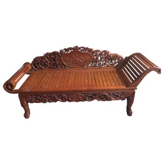 Vietnamese Hand Carved Wood Chaise Lounge