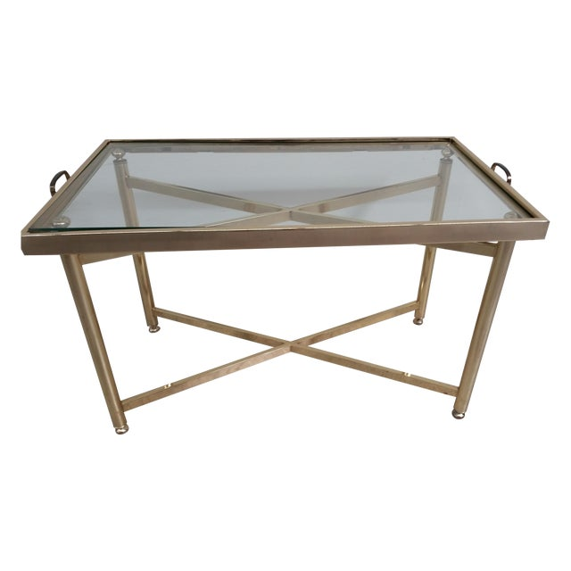 Gold Hollywood Regency Style Tray Table - Image 1 of 7