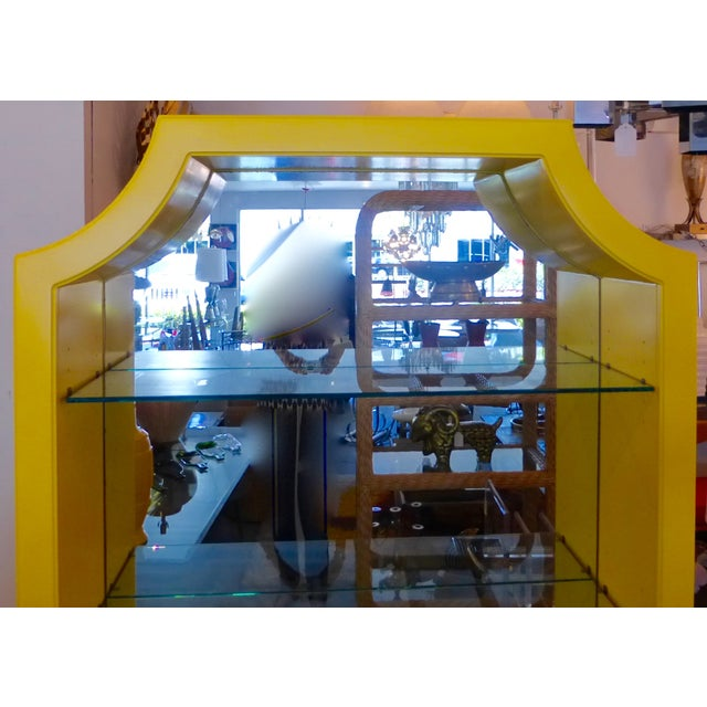 Mirrored Etagere Cabinet Glass Shelves Yellow - Image 3 of 7