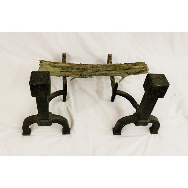 Mid Century Modern Iron Andirons - Image 3 of 4