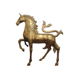 Huge Hollywood Regency Brass Unicorn Sculpture