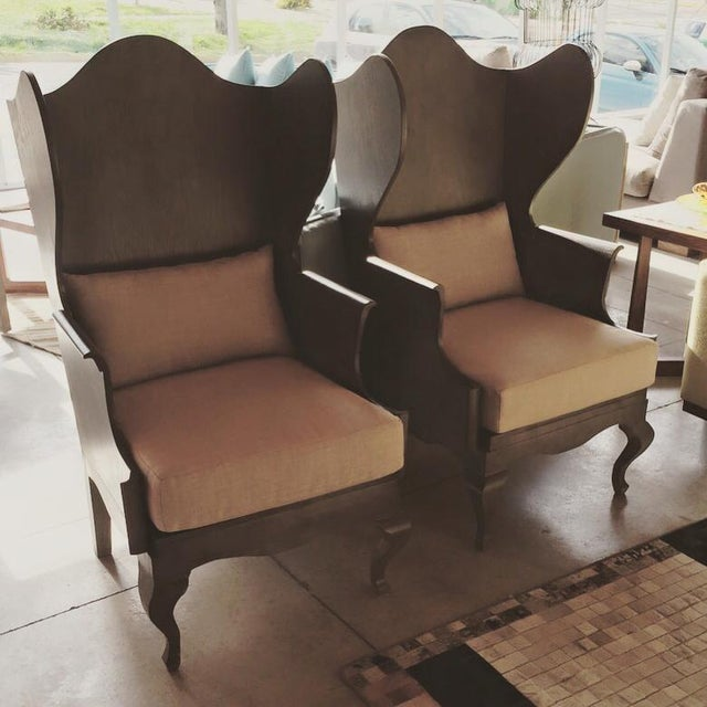 Image of Wood Wingback Chair