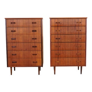 Original Danish Modern Pair of Teak Dressers - Frede